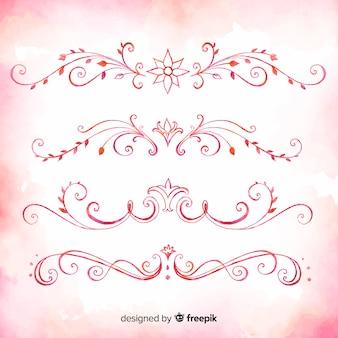 Rosa satz hand gezeichnete verzierungsteiler