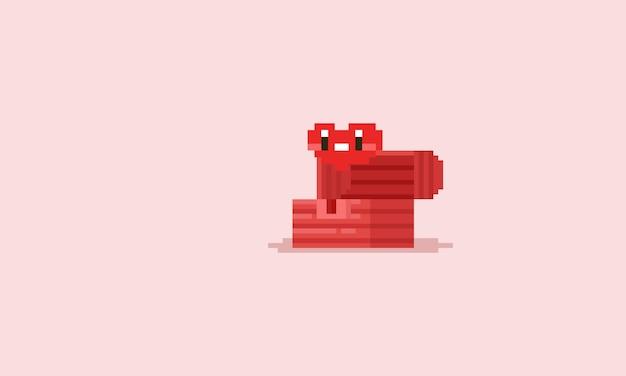 Rosa schatzkiste des pixels mit karikaturherzen