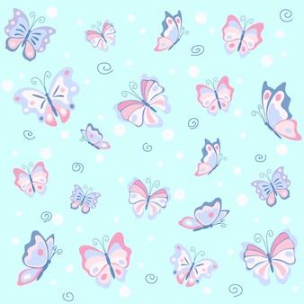 Rosa schmetterling im blauen nahtlosen muster