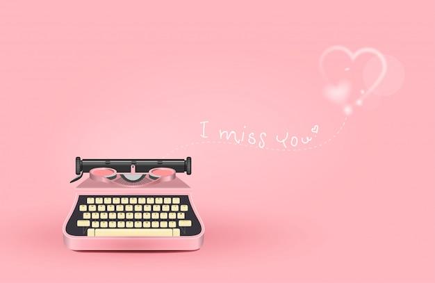 Rosa schreibmaschine mit liebesbotschaft