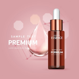 Rosa serumtropfen für schönheits- und kosmetikkonzept