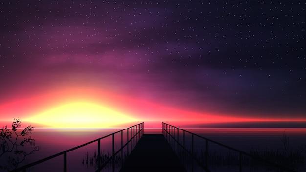 Rosa sonnenuntergang auf dem see mit einer silhouette eines hölzernen piers und eines sternenhimmels
