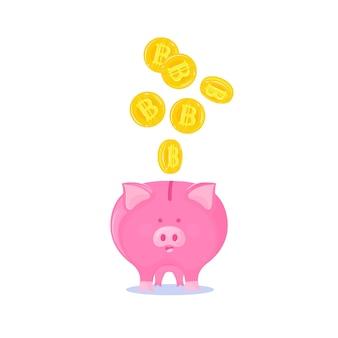 Rosa sparschwein mit fallender gold-bitcoins-kryptowährung.