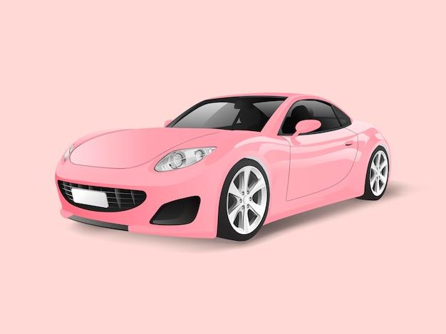 Rosa sportauto in einem rosa hintergrundvektor