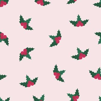 Rosa stechpalmenbeeren weihnachtsnahtloses muster