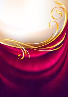 Rosa stoffvorhänge mit goldener verzierung
