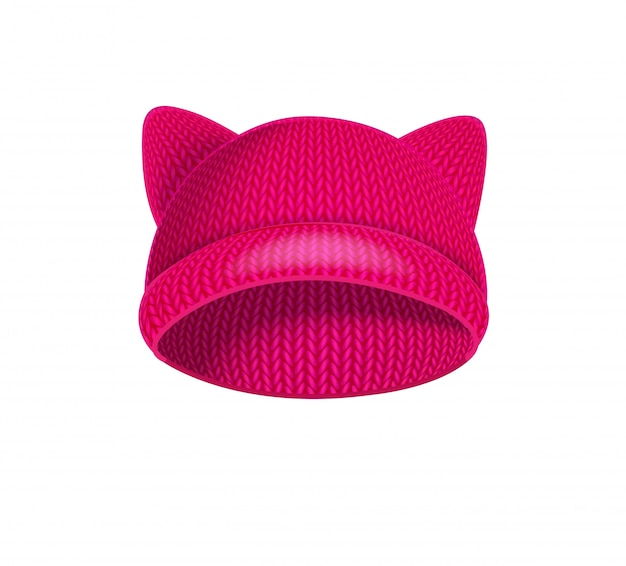 Rosa strickmütze mit katzenohren.