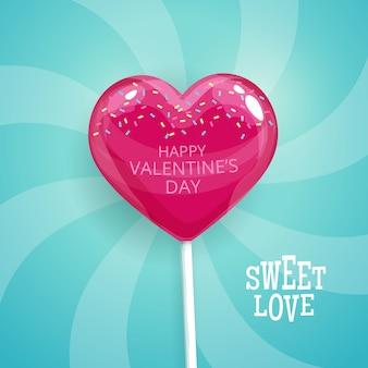 Rosa süßigkeit auf einem stock in form von herzen. alles gute zum valentinstag postkarte. lutscher-abbildung.