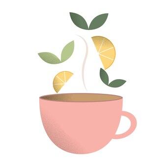 Rosa tasse mit tee eine tasse mit heißem tee teeblätter und zitrone für tee