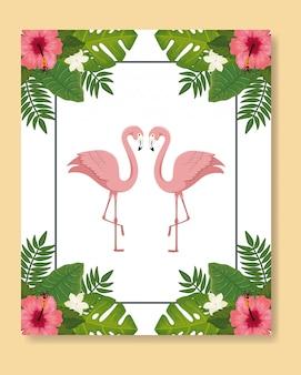 Rosa tiere der flamingos mit blattnatur