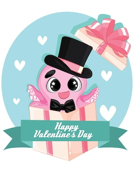 Rosa tintenfisch-charakter in geschenkbox mit fliege und hut. happy valentinstag kartenvorlage.