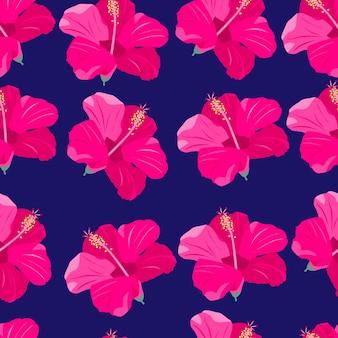 Rosa tropische blumen nahtlose muster exotische paradiesblumen helle lagervektorillustration