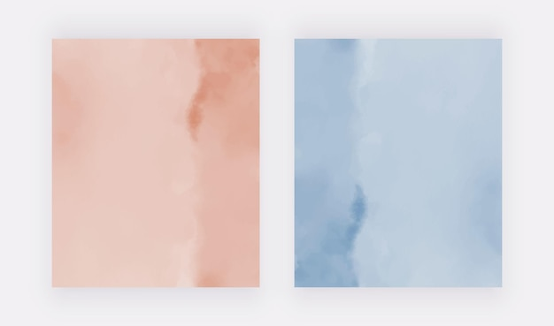 Rosa und blaue aquarellbeschaffenheit vektordesignhintergründe für fahnenkarteneinladungen