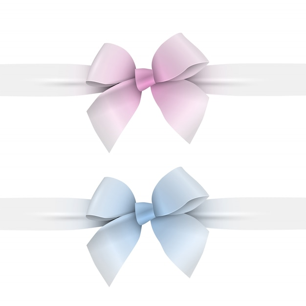 Rosa und blaue pastellfarben beugen mit bändern