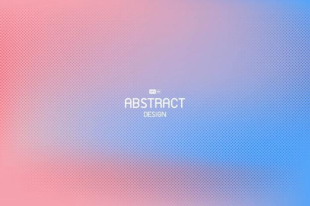 Rosa und blaue schablonenhintergrund des abstrakten gradienten mit dem dekorativen halbtonentwurf.
