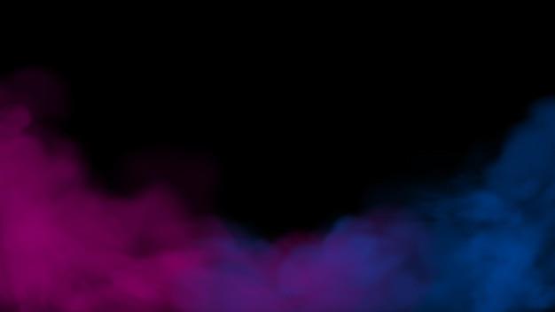 Rosa und blauer nebel- und nebeleffekt auf schwarzem bühnenstudio-schaufensterraumhintergrund