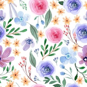 Rosa und blaues spaß-frühlingsblumenaquarell-nahtloses muster