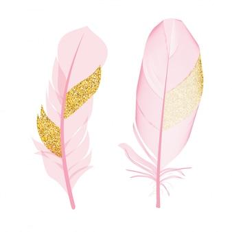 Rosa und goldener funkeln gemalte federvögel lokalisiert. vektor-illustration