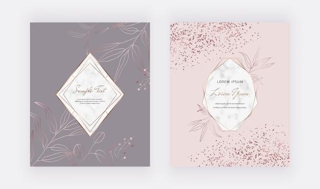 Rosa und graue umschläge kartenentwurf mit roségold-konfetti, geometrischen marmorrahmen und goldenen linienblättern.