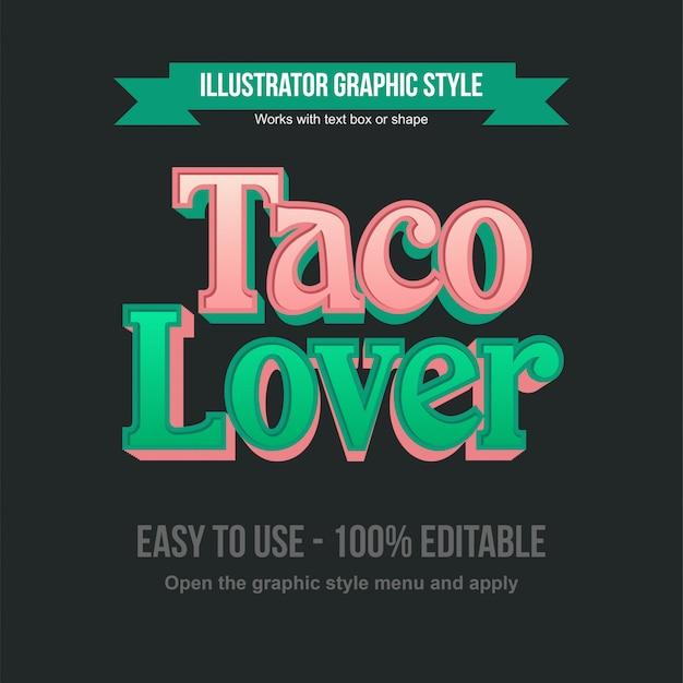 Rosa und grün elegante bearbeitbare typografie-effekte für 3d-serifen