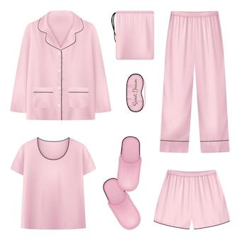 Rosa und isolierte realistische nachtwäsche hausschuhe schlafenszeit symbol gesetzt mit hemd hausschuhe hosen illustration
