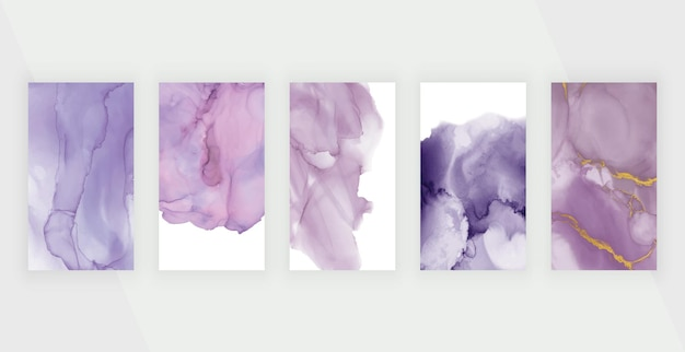 Rosa und lila aquarell-alkoholtinte für social-media-geschichten-banner
