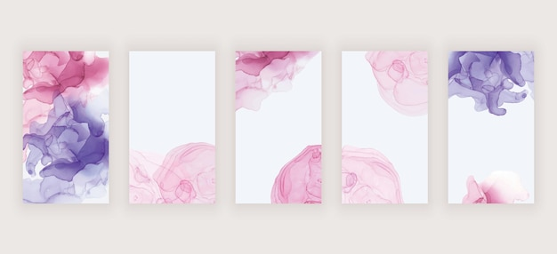 Rosa und lila aquarellalkohol-tinte für social-media-geschichten-banner