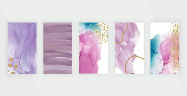 Rosa und lila aquarellalkohol-tintenhintergründe mit glitzer-konfetti für instagram-geschichte