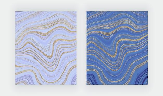 Rosa und lila aquarellpinsel-strichkarten mit geometrischem marmoreffekt.