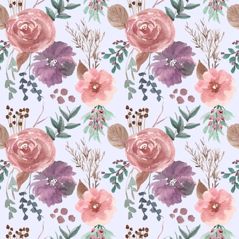 Rosa und lila blumenanordnung probiert musteraquarell