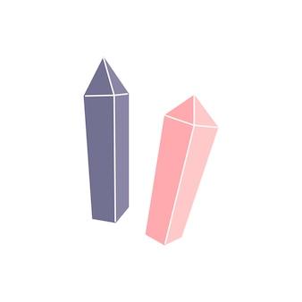 Rosa und lila einfache kristalle auf weißem hintergrund. magie, hexerei, schmuck, schätze. hand gezeichneter vektor lokalisierte einzelne illustration.