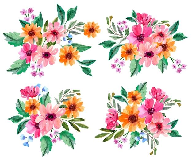 Rosa und orange aquarell blumenarrangement-sammlung
