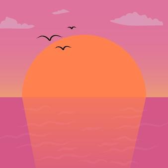 Rosa und orange sonnenunterganglandschaftsvektor-kunstarbeitshintergrund
