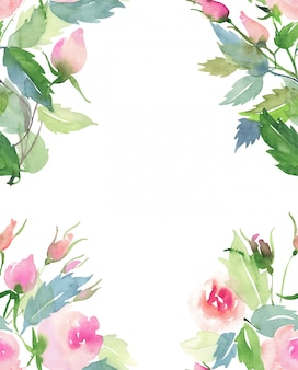 Rosa und rote rosen mit knospen- und blattblumensträußchenrahmen