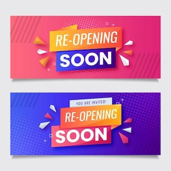 Rosa und violette wiedereröffnung bald banner vorlage