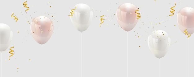Rosa und weiße ballon-konfetti und goldbänder.