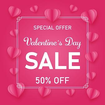 Rosa und weiße fahnenschablone der valentinsgrußtagesmotivverkaufsförderung