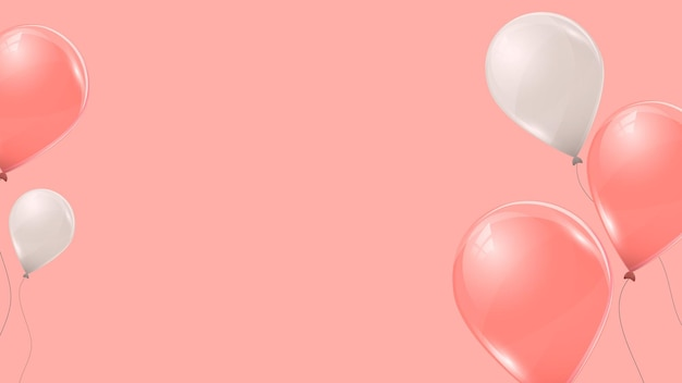 Rosa und weiße heliumballons auf rosa hintergrund. fliegende latex-3d-ballons. vektor-illustration.