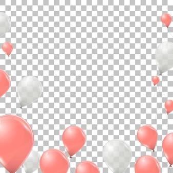 Rosa und weiße heliumballons auf transparentem hintergrund isoliert
