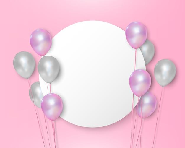 Rosa und weiße luftballons auf leerem kreis mit weißem hintergrund