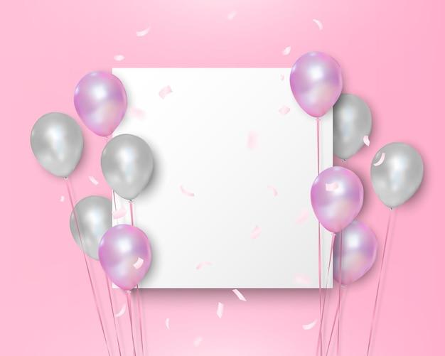 Rosa und weiße luftballons auf leerem weißem hintergrund