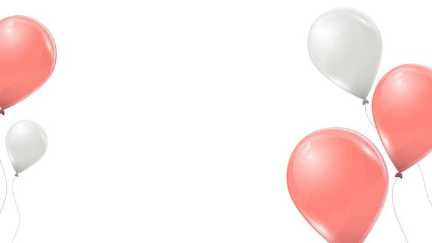 Rosa und weiße luftballons auf weißem hintergrund