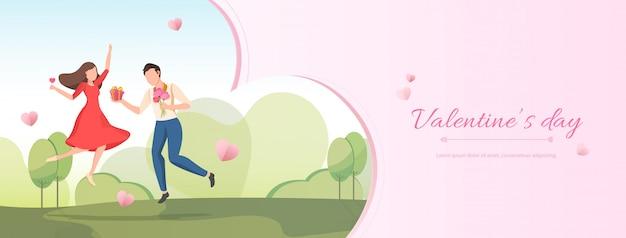 Rosa valentinstag-fahnenhintergrund mit karikaturpaar, das in den garten springt