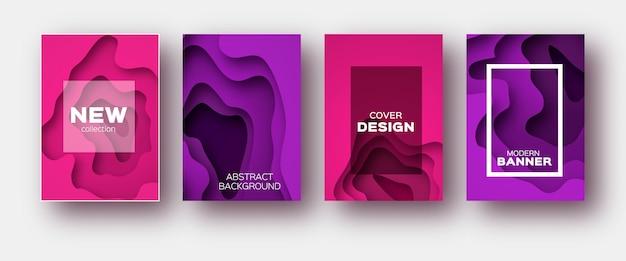 Rosa violette papierschnittwellenformen.