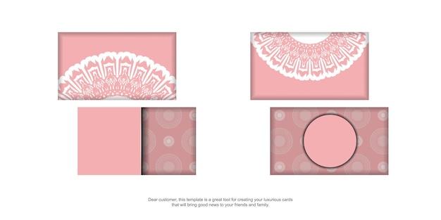Rosa visitenkarte mit mandala-weiß-muster für ihre marke.