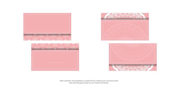Rosa visitenkarte mit mandalaweißverzierung für ihre persönlichkeit.