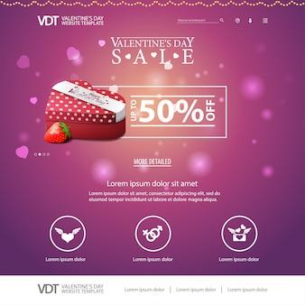 Rosa websiteschablone mit valentinstagdesign