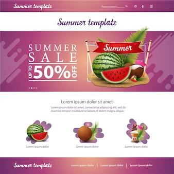 Rosa websiteschnittstellenschablone für sommerrabatte und -verkäufe