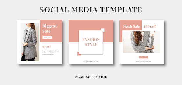 Rosa weibliche schönheit social-media-instagram-post-mode-promotion-anzeigenvorlage