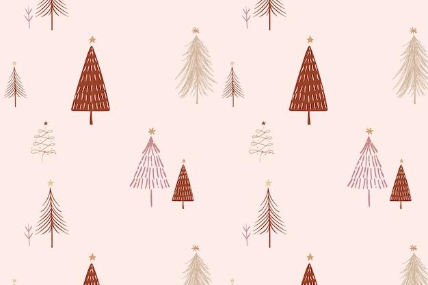 Rosa weihnachtshintergrund, festliches baummuster im gekritzeldesignvektor